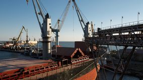 Timelapse of ship loading grain crops on bulk freighter via trunk to open cargo holds at silo terminal in seaport. Cereals bulk transshipment to vessel stock video
