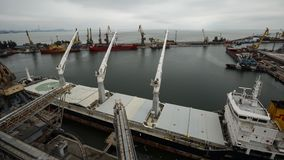 Timelapse of ship mooring and opening cargo hold at grain terminal in seaport. Cereals bulk transshipment to vessel. Timelapse of ship mooring and opening cargo stock footage