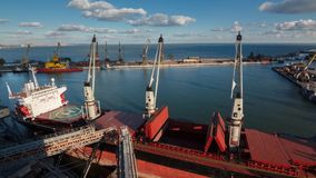 Timelapse of ship opening cargo holds at grain terminal in seaport for loading crops on freighter. Cereals bulk. Timelapse of ship mooring and opening cargo hold stock video