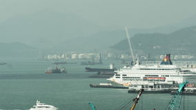 Timelapse of ship traffic in Hong Kong harbour stock video footage