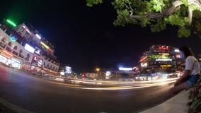 Timelapse shot of night traffic on Hanoi square, Vietnam stock footage