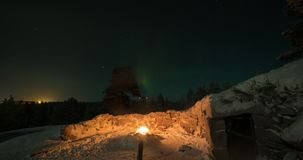 Timelapse of polar lights in Finland stock footage