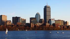 Timelapse skyline da Boston, Massachusetts através do porto 4K video estoque