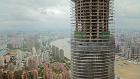 Timelapse of skyscraper under construction and cityscape of Shanghai , Shanghai, China stock video footage