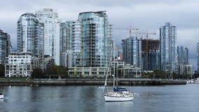 Timelapse skyskrapor och fartyg i Vancouver, Kanada 4K arkivfilmer