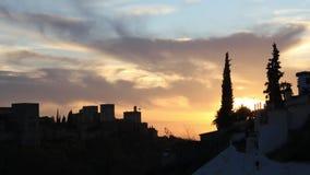Timelapse solnedgång Alhambra, Granada, Sapin lager videofilmer
