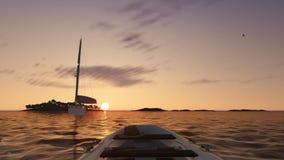 Timelapse soluppgång, havslandskap med fartyg och fåglar stock video
