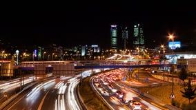 Timelapse stad av Madrid på natten stock video
