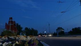 Timelapse Stad ett slags tvåsittssoffa houses för havsstjärnor för natten den romantiska gatan under Skytte av trafik på huvudväg lager videofilmer