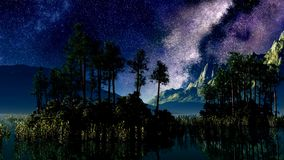 Timelapse stars above a lake with  islands stock footage