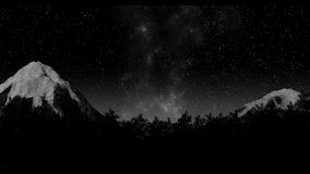 Timelapse of stars moving in night sky over pine trees. Timelapse of stars moving in night sky over mountains and pine trees 3d illustration render stock video
