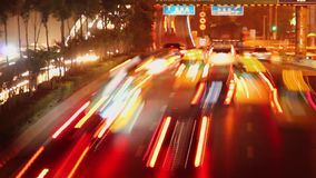 Timelapse of street scene at night ,xi`an,shaanxi,China stock video