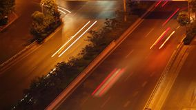Timelapse of street scene at night ,xi`an,shaanxi,China stock footage