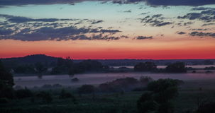Timelapse Summer fog over the green valley after sunset in forest stock footage