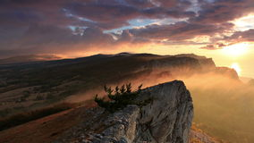 Timelapse sunrise in the mountains Ai-Petri. stock video