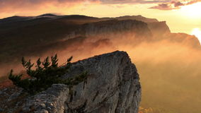 Timelapse sunrise in the mountains Ai-Petri. Alupka, Crimea, Ukraine stock video footage