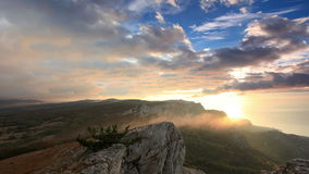 Timelapse sunrise in the mountains Ai-Petri. Alupka, Crimea, Ukraine stock video