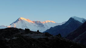 Timelapse sunrise in the mountains Cho Oyu, Himalayas, Nepal. FULL HD stock video footage