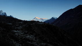 Timelapse sunrise in the mountains Everest (8848м), Himalayas, Nepal stock video footage