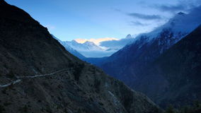 Timelapse sunrise in the mountains Everest (8848м), Himalayas, Nepal. stock video footage