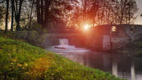 Timelapse sunrise over a river stock footage