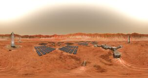 Timelapse of sunrise and sunset at the Martian base located inside the crater. Loopable 360 VR 4K animation.