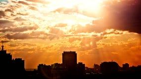 Timelapse of sunset at city skyline background stock video