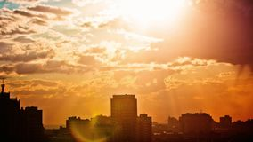 Timelapse of sunset at city skyline background stock video footage