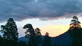 Timelapse of sunset with clouds in mountain forest, motionless silhouettes of trees stock video footage