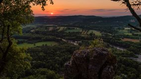 Timelapse of the sunset in the Dordogne valley, occitanie region in France stock video footage