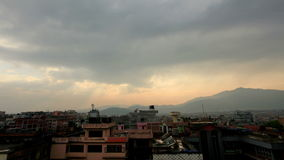 Timelapse sunset in Kathmandu. Nepal Stock Photo
