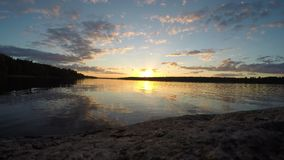 Timelapse Sunset On The Lake stock footage