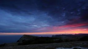 Timelapse sunset in the mountains Merdven-Kayasy. Crimea, Ukraine stock footage