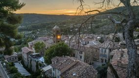 Timelapse of the sunset in Moustiers Sainte Marie, Provence region in France stock video footage