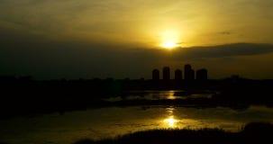 Timelapse Sunset Over Bucharest City Skyline stock video footage