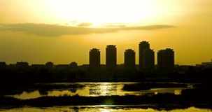 Timelapse Sunset Over Bucharest City Skyline stock footage
