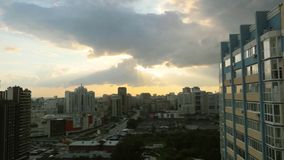 Timelapse of Sunset over downtown city skyline on silhouette of architecture stock video footage