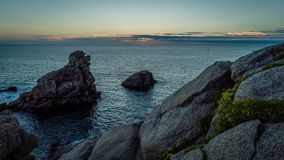 Timelapse of the sunset in Quiberon cote sauvage, Brittany, France stock video footage
