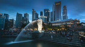 2018-06-16 Timelapse-Tag zu Nacht-Singapur-Skyline Merlions-Park stock footage