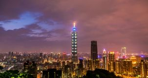 Timelapse taipei 101 tower and cityscape of taiwan stock footage