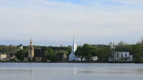 Timelapse of the three churches of Mahone Bay, Nova Scotia 4K stock footage
