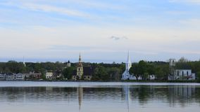 Timelapse of the three churches of Mahone Bay in Nova Scotia 4K stock video