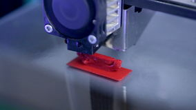Timelapse. Three dimensional printer working. Extreme close-up. stock video footage