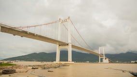 Timelapse Thuan Phuoc桥梁在岘港市市,越南 免版税库存照片