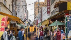 Tokyo Japan time lapse. Timelapse of tourist at Tsukiji Fish Market, Tokyo, Japan 4K time lapse stock video