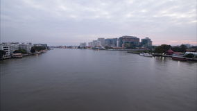 Timelapse day to night of Chaopraya river. See from Pinklao bridge stock footage