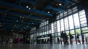 Timelapse of tourists at Pompidou Centre entrance stock video