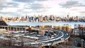 Timelapse with traffic on the Helix at the entrance in Lincoln Tunnel stock video footage