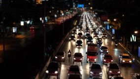 Timelapse traffic jam on the avenue in the evening rush hour, cars congestion.  stock video