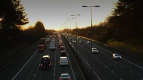 Timelapse Of Traffic On Motorway. From Dark Through Sunrise To day stock video